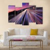 Traffic at twilight on 405 freeway in Los Angeles Multi Panel Canvas Wall Art