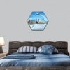 World monuments and mountains hexagonal canvas wall art