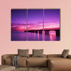 Pier at sunset multi panel canvas wall art