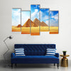 Giza valley with Great pyramids with blue cloudy sky Multi Panel Canvas Wall Art