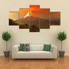 Long exposure of Tungurahua volcano exploding in the night of, Ecuador multi panel canvas wall art