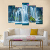 Beautiful Blue Waterfall in Hawaii Multi Panel Canvas Wall Art