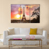 Eiffel Tower against sunset in Paris, France Multi panel canvas wall art