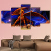 Fantasy red gold dragon against a background of cosmic landscapes multi panel canvas wall art
