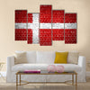An image of the Denmark flag painted on a brick wall Multi Panel Canvas Wall Art