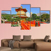 Gold pavilion in Chinese garden multi panel canvas wall art