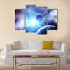 Planets against the sun in space Multi Panel Canvas Wall Art