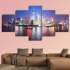 Beautiful night scenery of shanghai skyline, China multi panel canvas wall art