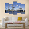 River Clyde in Glasgow with bridge, crane and modern buildings, Multi Panel Canvas Wall Art