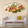 Tasty healthy fish fillet with vegetables and mushrooms Multi panel canvas wall art