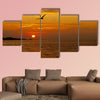 Sunrise with seagull Multi panel canvas wall art