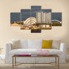 Sunlight on buildings as storm clouds gather beside River Clyde in Glasgow, UK, Multi Panel Canvas Wall Art
