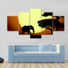 Elephants at sunset Multi panel canvas wall art