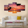 Silhouette of Yoga girl in sunset Multi panel canvas wall art
