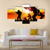 Silhouette illustration of a group of soldiers on the field Multi Panel Canvas Wall Art