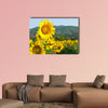Sunflower Field on blue sky multi panel canvas wall art
