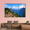 Lugano city with the view of lake Lugano Multi panel canvas wall art