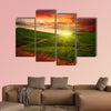 Path through a mystery mountain meadow to horizon with sunset clouds multi panel canvas wall art