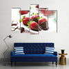Fresh strawberries dipped in dark chocolate Multi panel canvas wall art
