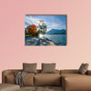 Beautiful morning on lake with mountains on background wall art