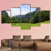Green alpine meadow near Trummelbach Falls, Switzerland multi panel canvas wall art