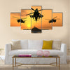 Apache Helicopter with Aircraft Carrier Multi Panel Canvas Wall Art