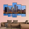 Image of the Chicago downtown skyline at dusk multi panel canvas wall art