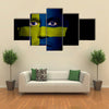Swedish Flag Painted Onto A Man's Face Multi Panel Canvas Wall Art