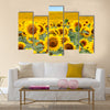 Beautiful sunflower field in summer Multi Panel Canvas Wall Art