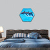 Three Bottlenose Dolphins, Tursiops truncatus, leaping hexagonal canvas wall art