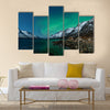 Aurora Borealis Northern lights reflection with fjords Multi panel canvas wall art