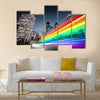 Colorful rainbow blurred bus traffic in Los Angeles Multi Panel Canvas Wall Art