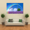 Rainbow Over A Lone Tree And Lavender Filed, Multi Panel Canvas Wall Art