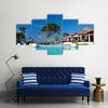 Swimming pool in Caribbean resort Multi panel canvas wall art