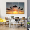Five Bombers Flying Over Sunset Multi Panel Canvas Wall Art