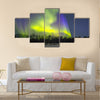 Northern Lights (Aurora borealis) over snowscape Multi panel canvas wall art