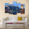 Edinburgh Castle with Cityscape from Calton Hill at dusk Scotland UK Multi Panel Canvas Wall Art