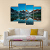 Reflection of mount Assiniboine on Magog lake Multi panel canvas wall art