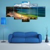 The beautiful deep green and blue colors of Lake Tota Multi Panel Canvas Wall Art