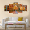 Pathway through the autumn forest Multi panel canvas wall art