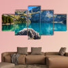The Oeschinen mountain lake at, Switzerland Multi panel canvas wall art
