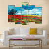 Original oil painting of fields of flowers on canvas Multi Panel Canvas Wall Art