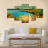 The Original Oil Painting Showing Beautiful Lake, Sunset, Landscape Multi Panel Canvas Wall Art