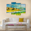Original oil painting of river coast and cliffs on canvas Multi Panel Canvas Wall Art