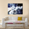Airplane crash in a storm with lightning concept accident airplane in the sky emergency landing flights in bad weather multi panel canvas wall art