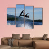 Guy on wakeboard jumping Multi panel canvas wall art
