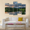 The Sun setting over the Langdale Pikes with Loughrigg Tarn multi panel canvas wall art