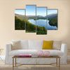 Overlook of Grasmere in Lake District as sunrise multi panel canvas wall art