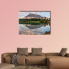 Rundle mountain reflected in pond with two bridges Multi panel canvas wall art