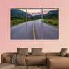 Winding road that leads to beautiful sunset lit mountains wall art